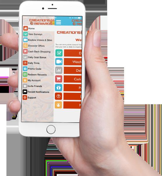 CreationsRewards Mobile App Menu