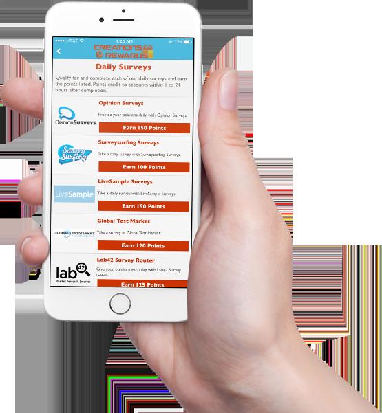 CreationsRewards Mobile App Surveys